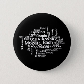 Classical Composers Word Cloud 6 Cm Round Badge