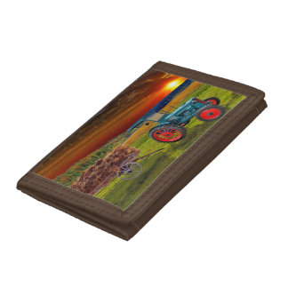 Classical Trecker in the evening sun Tri-fold Wallet