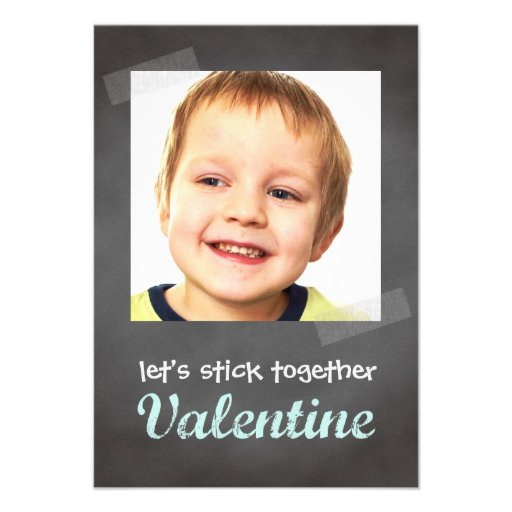 Classroom valentine exchange chalkboard photo blue custom announcement
