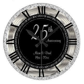Classy 25th Silver Anniversary Clocks