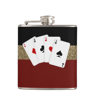 Classy Aces Poker Flasks