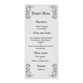 Classy And Elegant Gray White Wedding Dinner Menu  Formal Dinner Menu Template