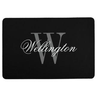 Classy black and white monogram kitchen floor mat
