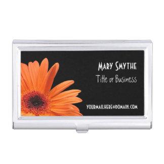 Classy Black & Orange Gerbera Daisy Business Card Case For Business Cards