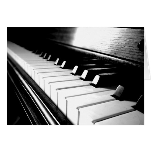 Classy Black & White Piano Photography Greeting Card
