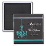 Classy Chandelier Wedding Favour Magnet (aqua)