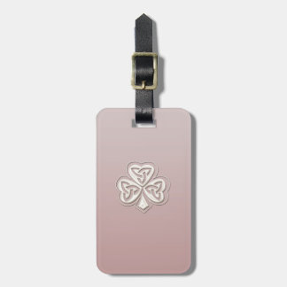 Classy chic pearl lucky shamrock personalised luggage tag