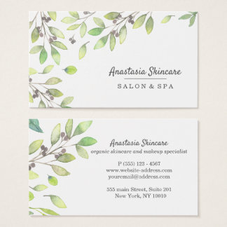 Classy Day Spa and Salon Green Foliage watercolor Business Card