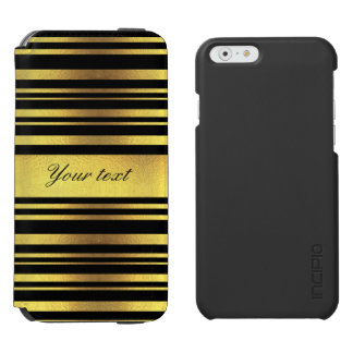 Classy Faux Gold Foil and Black Stripes Incipio Watson™ iPhone 6 Wallet Case