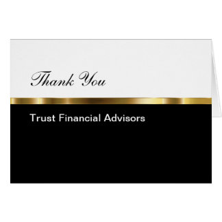 Classy Financial Advisor Business Thank You Note Card