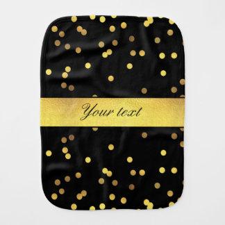 Classy Gold Confetti Black Burp Cloths