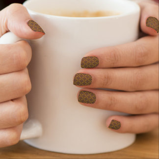 Classy Gold Quilted Coffee Color Minx ® Nail Art