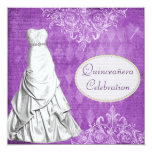Classy Gown Vintage Shabby Chic Purple Quinceanera 13 Cm X 13 Cm Square Invitation Card