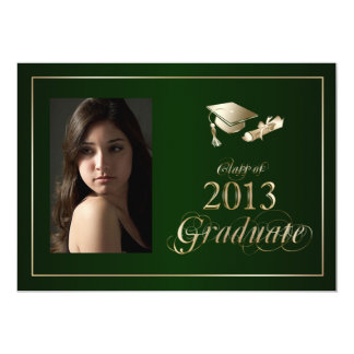 Classy Green and Gold 2013 Graduate Photo Invite