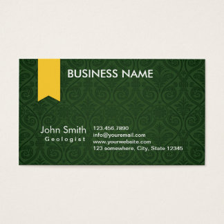 Classy Green Damask Geologist Business Card