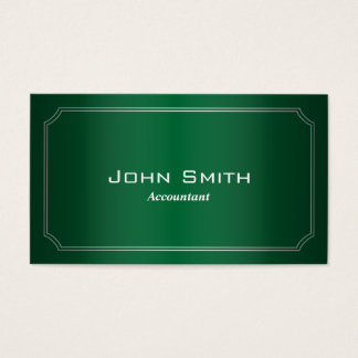 Classy Green Framed Accountant Business Card