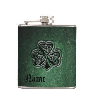 Classy grunge Irish lucky shamrock personalised Hip Flask