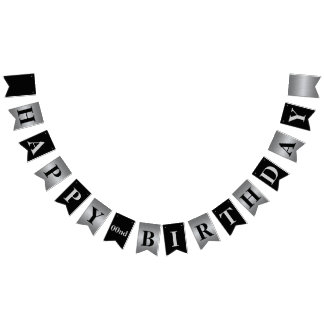 Classy Modern Silver and Black Birthday Banner