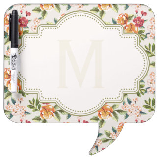 Classy Monogram Vintage Victorian Floral Flowers Dry-Erase Whiteboards