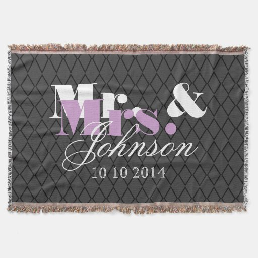 Classy Mr and Mrs throw blanket for newly weds