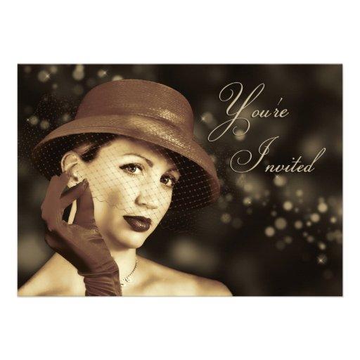 Classy Multi-Purpose Invitation - Vintage Lady Personalized Invitations