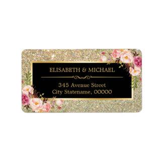 Classy Pink Floral Gold Glitter Sparkling Wedding Address Label