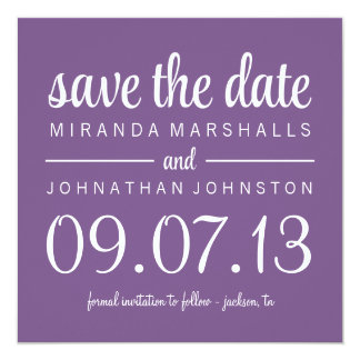 Classy Purple Photo Save The Date Invites