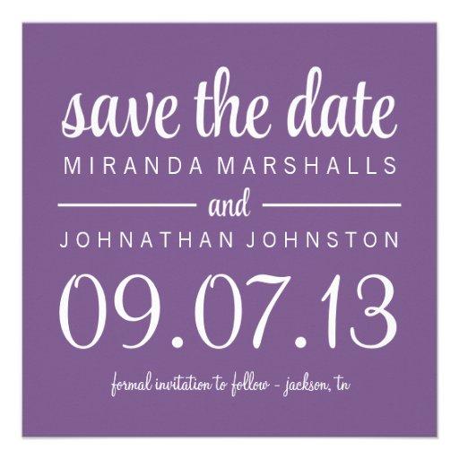 Classy Purple Photo Save The Date Invites