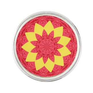 Classy Red and Yellow Geometric Flower Pattern Lapel Pin
