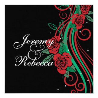 Classy Red Roses and green swirls on black wedding 13 Cm X 13 Cm Square Invitation Card