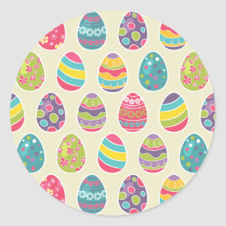 Classy Retro Easter Eggs Happy Easter Day Round Sticker