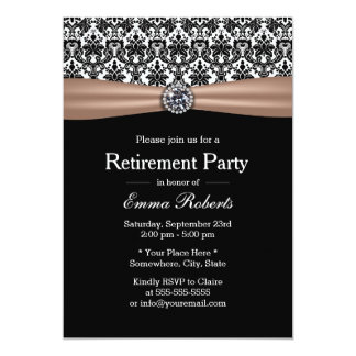 Classy Ribbon & Damask Diamond Retirement Party Card