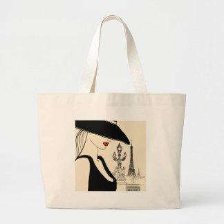 Classy Vintage Fashion in Paris Canvas Bag