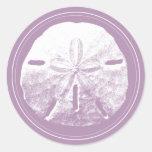 Classy Violet Sand Dollar Beach Wedding Favour Round Sticker