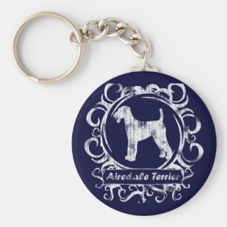 Classy Weathered Airedale Terrier Basic Round Button Key Ring