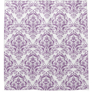 Classy White And Purple Damask Pattern Shower Curtain