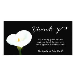 Classy White Flower Funeral Thank You Customized Photo Card