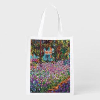 Claude Monet - Irises in Monet's Garden Fine Art Reusable Grocery Bag