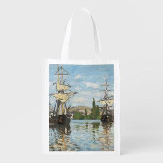 Claude Monet   Ships Riding on the Seine at Rouen Reusable Grocery Bag