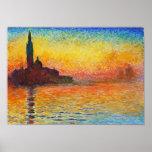 Claude Monet Sunset In Venice Print