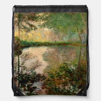 Claude Monet: The Pond at Montgeron Drawstring Bag