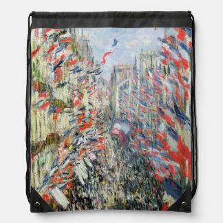 Claude Monet   The Rue Montorgueil, Paris Drawstring Bag