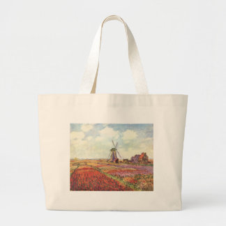 Claude Monet Tulips in Holland Large Tote Bag