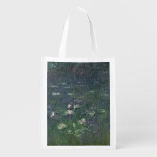 Claude Monet   Waterlilies: Morning, 1914-18 Reusable Grocery Bag