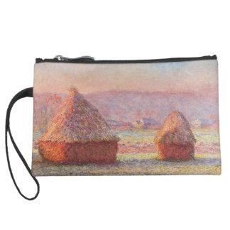 Claude Monet's Haystacks, White Frost, Sunrise Suede Wristlet
