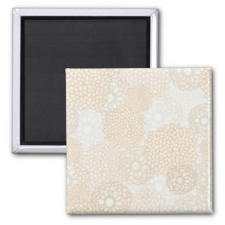 Clay and Tan Flower Burst Design Square Magnet