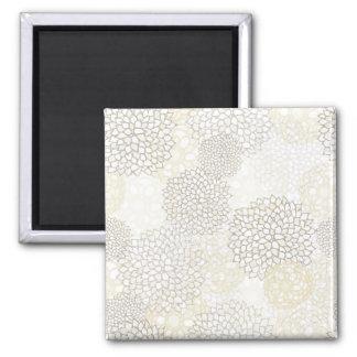 Clay and White Flower Burst Design Square Magnet