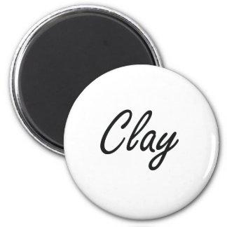 Clay Artistic Name Design 6 Cm Round Magnet