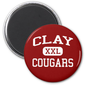 Clay - Cougars - Middle - South Bend Indiana 6 Cm Round Magnet