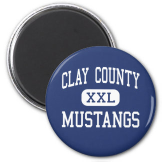 Clay County Mustangs Middle Clay 6 Cm Round Magnet
